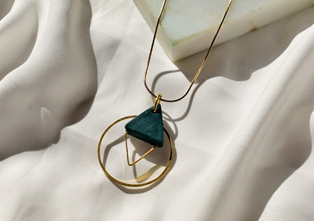 dark teal triangle necklace